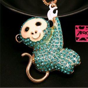 NWT Betsey Johnson Blue Monkey on Gold Chain